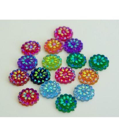 108 стразы цветочки разноцветные 15 шт