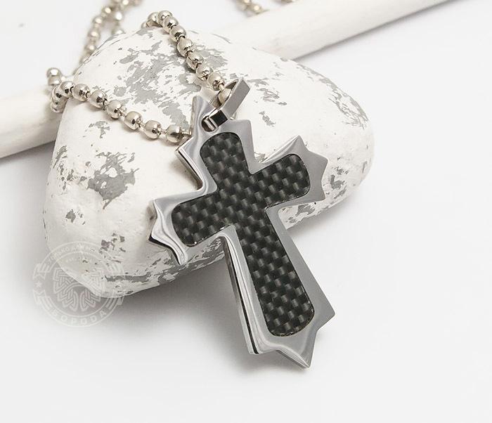SSP-101 Оригинальный мужской крест «Spikes» из стали и карбона фото 01