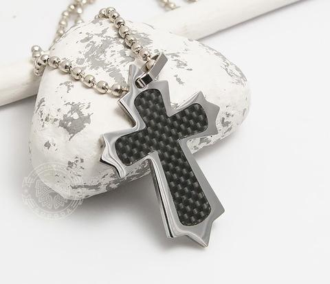 Оригинальный мужской крест «Spikes» из стали и карбона