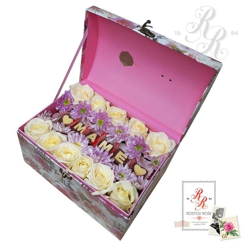 Белая роза в коробке с шоколадными буквами