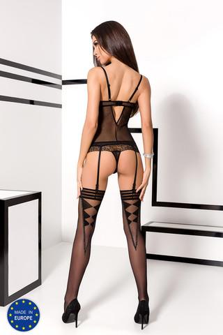 Эротический прозрачный корсет черного цвета