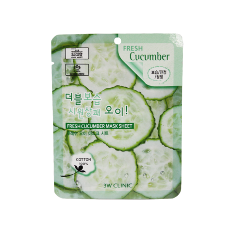 3W CLINIC Тканевая маска для лица с экстрактом огурца Fresh Cucumber Mask Sheet (23мл)