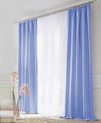 Комплект штор блэкаут (голубой) и вуаль (белый)