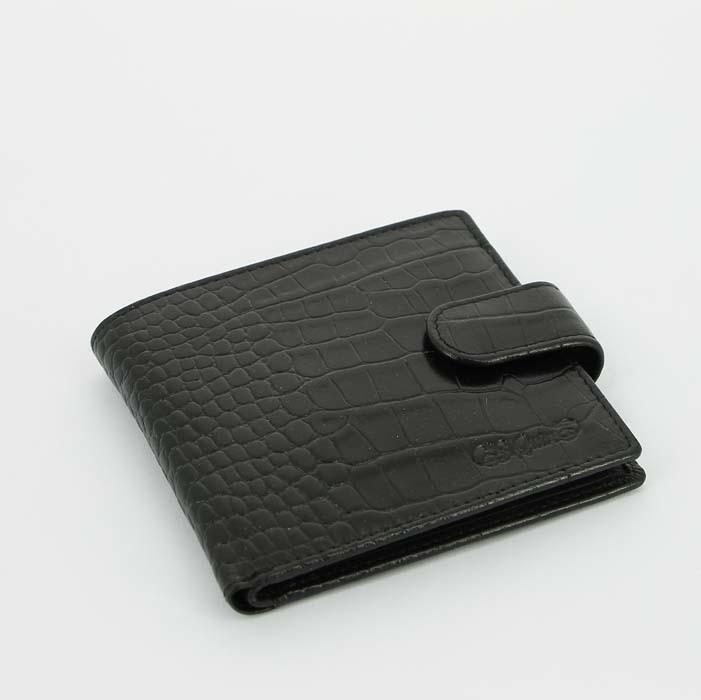 Портмоне классический S.Quire 6600-BK CROCO черный фактурный