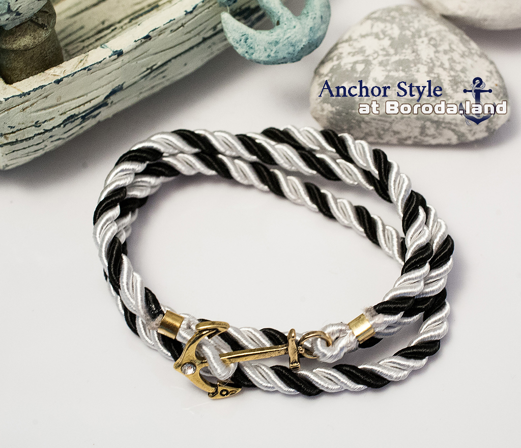 Полосатый черно-белый браслет из шнура с металлическим якорем браслеты mariner brand браслет с якорем black pearl page 5