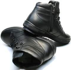 Кожаные сникерсы мужские черные зимние Ikoc 1608-1 Sport Black.
