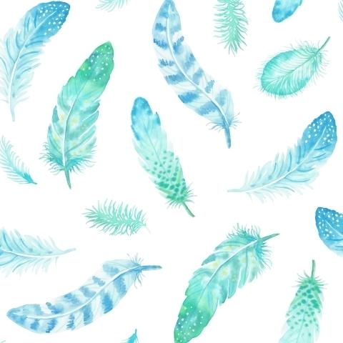 Бирюзовые перья на белом