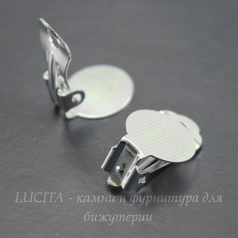 Основы для клипс с площадкой 12 мм, 18х12 мм (цвет - серебро), пара