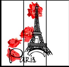 """Модульная картина """"Эйфелева башня с цветами"""""""