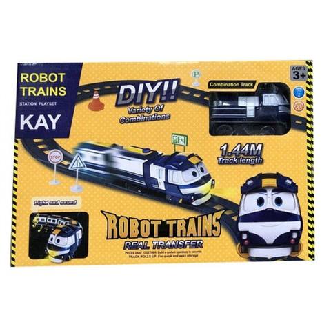 Роботы поезда Кей с вагончиками музыкальная железная дорога