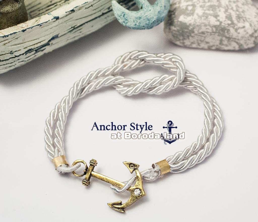 Белый браслет «Бесконечность» из плетеного шнура с металлическим якорем браслеты mariner brand браслет с якорем black pearl page 5