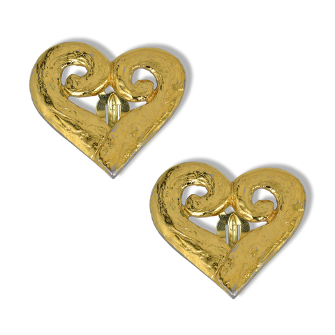 Клипсы в виде сердец от YSL  |  Yves Saint Laurent Vintage heart-shaped earrings