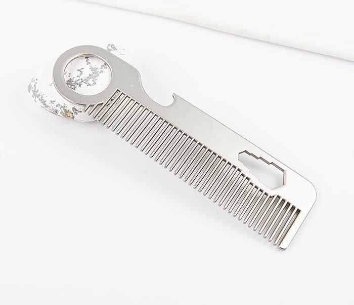 RAZ483 Мужская металлическая расческа с «открывашкой»