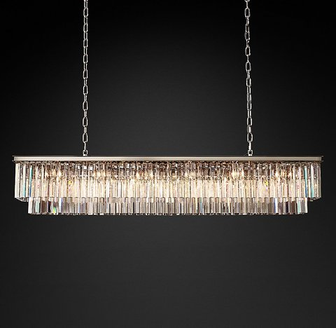 1920s Odeon Clear Glass Fringe Rectangular Chandelier 71
