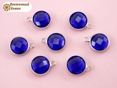 Камень круглый с ушком синий