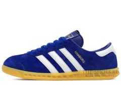 Кроссовки Мужские Adidas Hamburg Suede Blue White Beige
