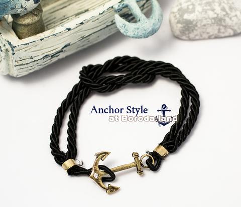 Черный браслет «Бесконечность» из плетеного шнура с металлическим якорем