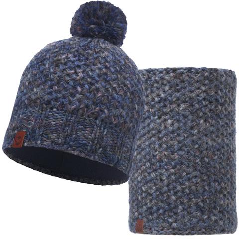 Комплект шапка шарф вязаный с флисом Buff Margo Blue