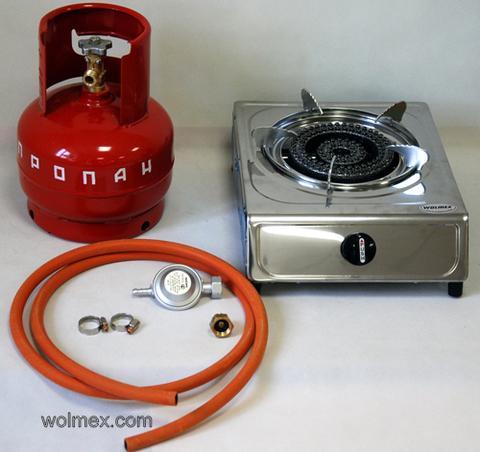Комплект 35. Плитка газовая Wolmex KGS-4R1 с металлическим баллоном и редуктором EN61 - Shell