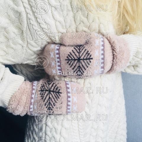 Варежки шерстяные вязаные со снежинками (цвет: кофейный)