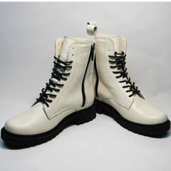 Ботинки кожаные женские зимние Ari Andano 740 Milk Black.