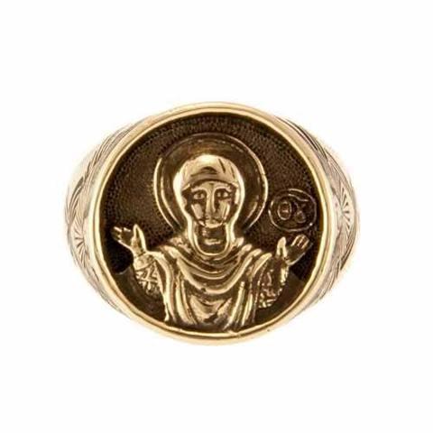 Перстень оберег Богородица Знамение Оранта из бронзы отечественного производства RH00886