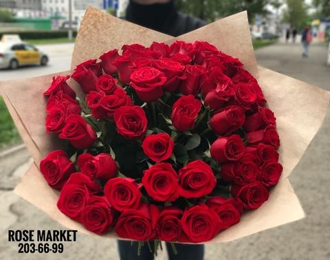 51 красная роза 60 см #1876
