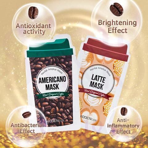 Тканевая маска с экстрактом кофе, 25 г / Hiddencos Latte / Americano Mask