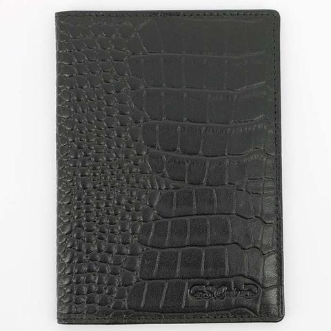 В наличии! Обложка для паспорта S.Quire 6400-BK CROCO черная с фактурным рисунком