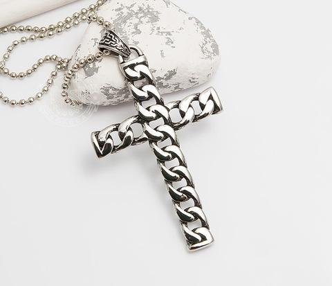 Крупный мужской крест «Spikes» из стали необычного дизайна