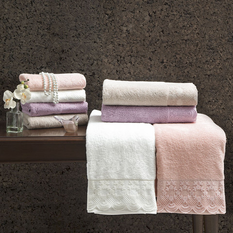 Набор полотенец  Olivia (фиолетовый) 2 пр. 50Х100 и  75Х150   TIVOLYO HOME Турция