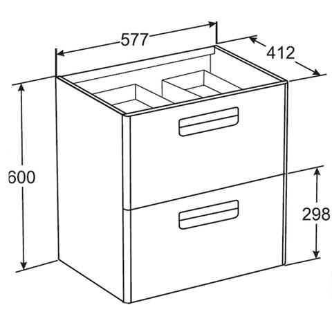 Мебель для ванной Roca The Gap 60x41см. виноград ZRU9302742/327472000 схема