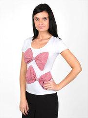 009645-1 футболка женская, бело-красная