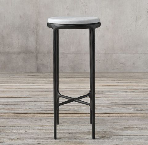 Thaddeus Forged Iron & Marble Round Cocktail Side Table