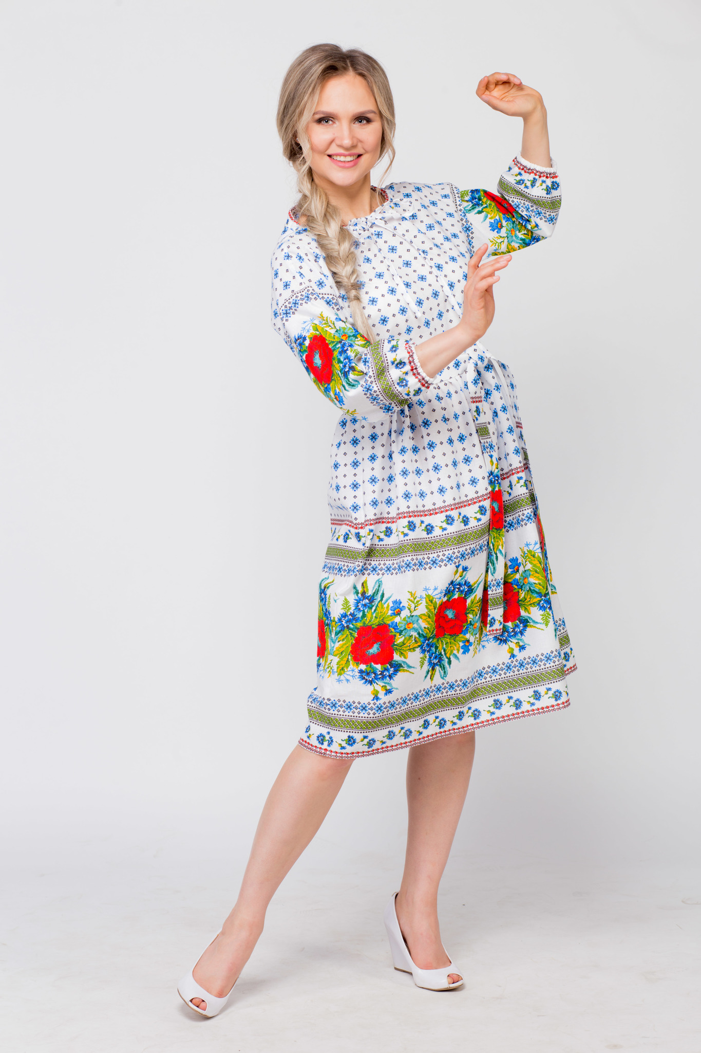 Платье льняное Маки-васильки купить
