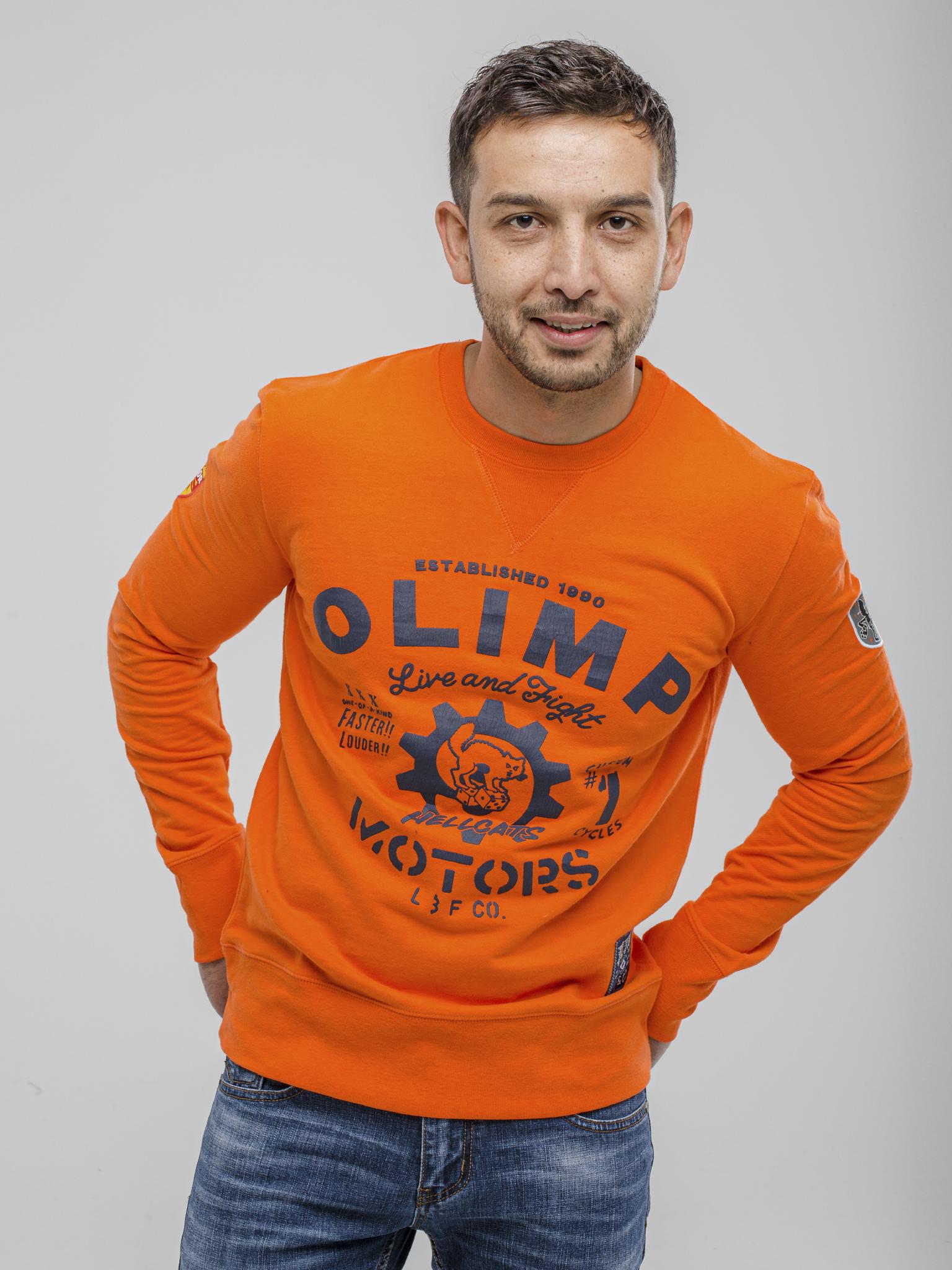 Мужской пуловер Olimp Hell Cat orange