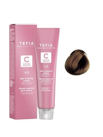 Крем-краска для волос с маслом монои 6.2 темный блондин бежевый 60 мл COLOR CREATS Tefia