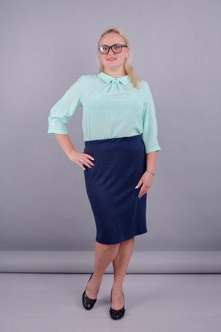 Пион. Трикотажная юбка больших размеров. Синий.