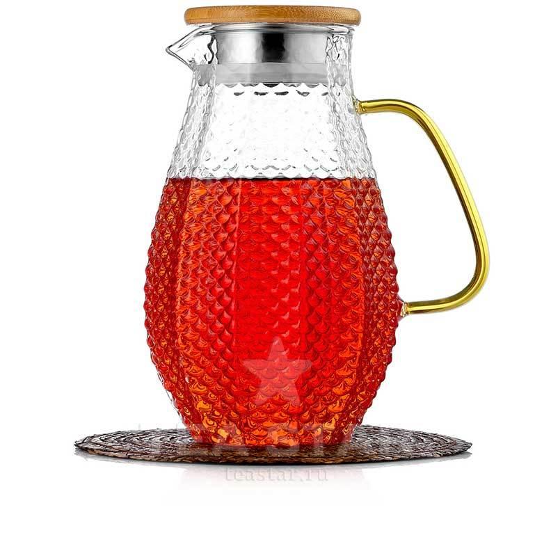 Кувшины, графины (для горячих и холодных напитков) Кувшин, графин для горячих и холодных напитков 1,5 литра, стеклянный Kuvshin-dlia-soka-i-kokteiley-4-001-1500-teastar.jpg