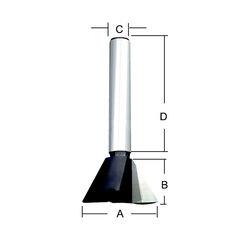 Фреза «ласточкин хвост» 25,4*38*22,2*12 мм; 14 °