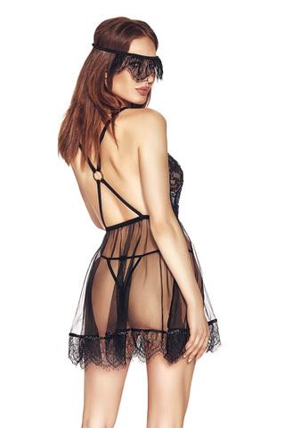 Прозрачная сорочка бэби-долл черная