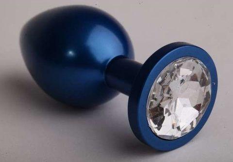 Синяя анальная пробка с прозрачным стразом - 7,6 см.