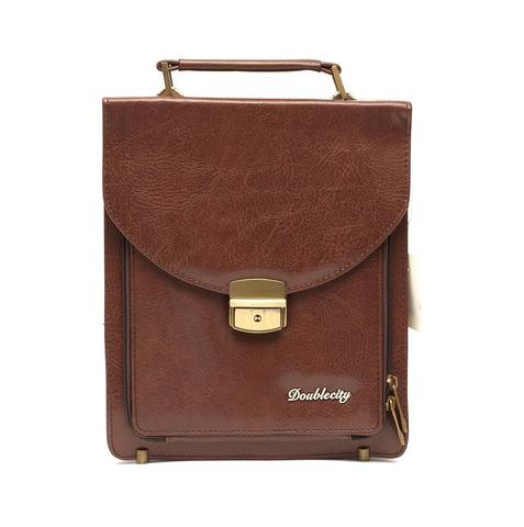 В наличии! Узкий коричневый портфель из экокожи DoubleCity 319 Brown