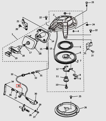 Рычаг для лодочного мотора T9.8 Sea-PRO (7-35)