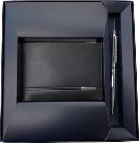 Набор Cross Century Classic, портмоне черная кожа + шариковая ручка, серебристый