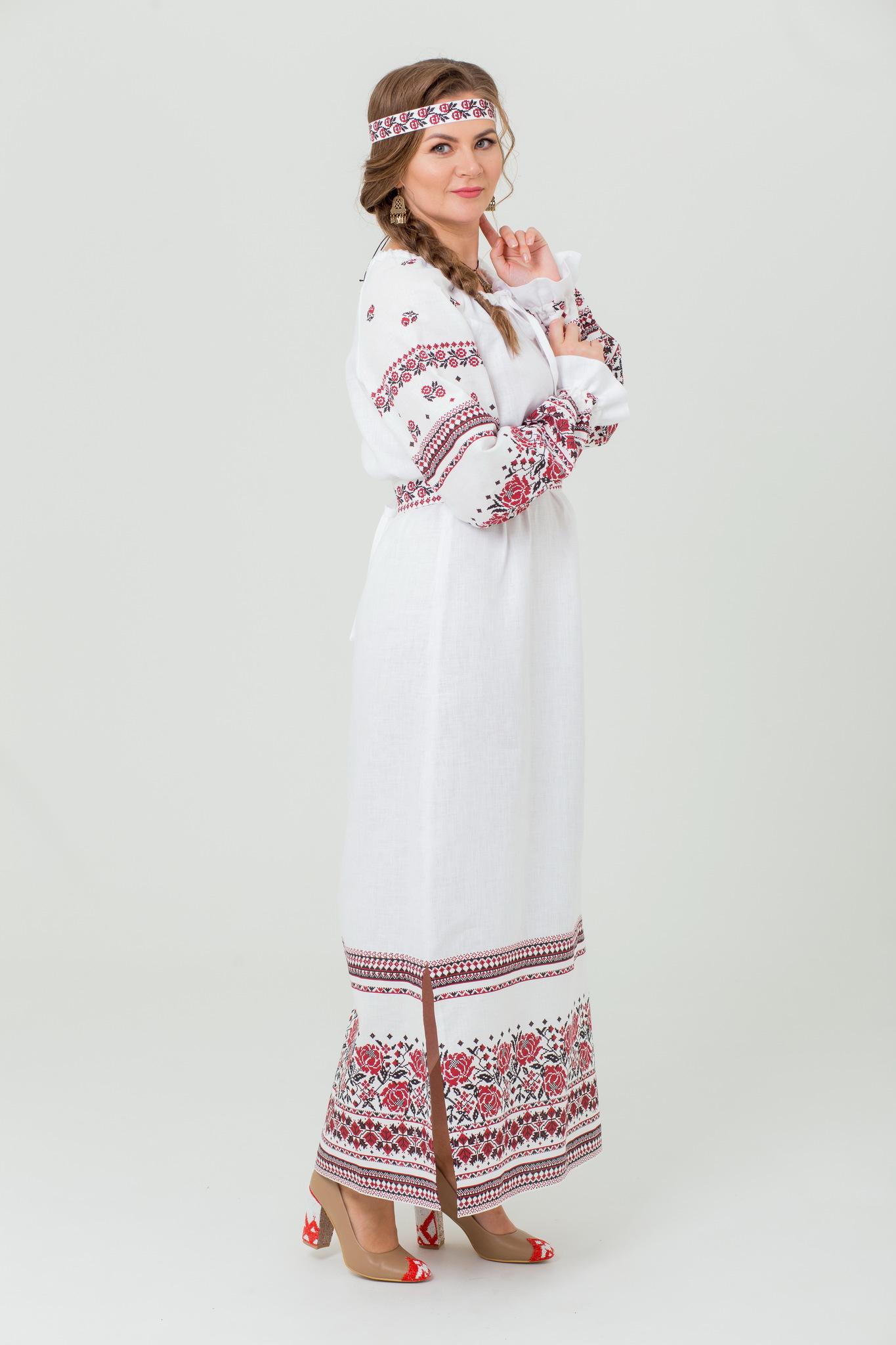 Платье льняное Женское счастье в русском стиле