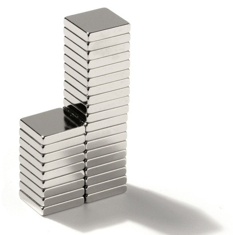 Магнит 7х7х4.5 мм, N30SH, никель, неодимовый блок