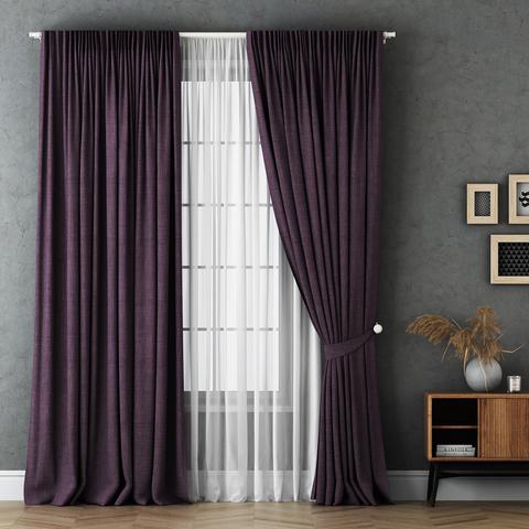 Комплект штор и тюль Бруни фиолетовый