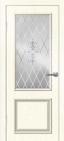 Дверь Дверная Линия Синдика, стекло Сатин, цвет ясень белый, остекленная