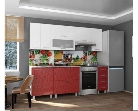 Кухня ВИЕЛЛА 1,5 страйп красный-горизонт
